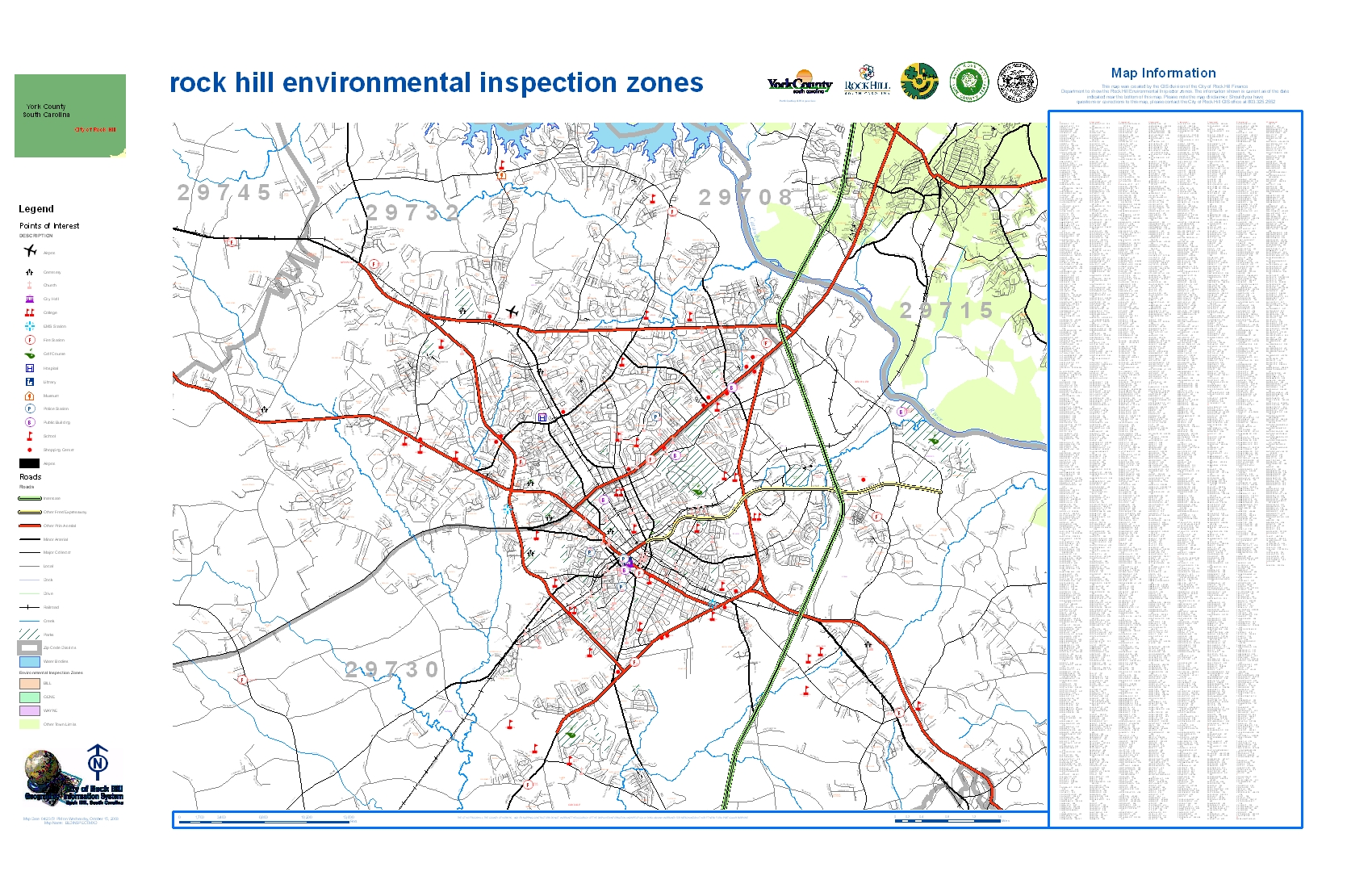 City of Rock Hill Primary Fire Zones Features: Points of interest, Functional road classifications, RH primary fire response zones, Street names w/index,Creeks and Rivers...